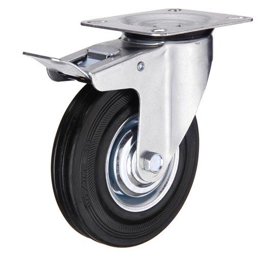 Промышленные колесные опоры поворотные с тормозом