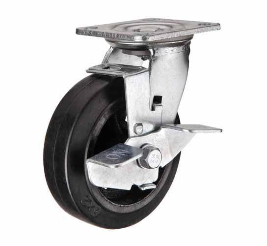 Поворотные большегрузные колеса чугун-резина с тормозом